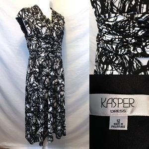 Kasper A-line Black White Ruched Cap Sleeve Dress